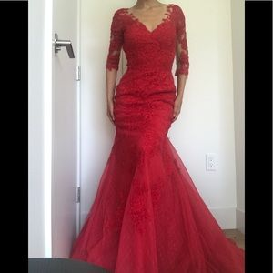 Long Sleeve Illusion Red Mermaid Evening Dress